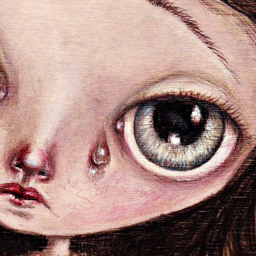 weep a big eyes colored pencil drawing on wood