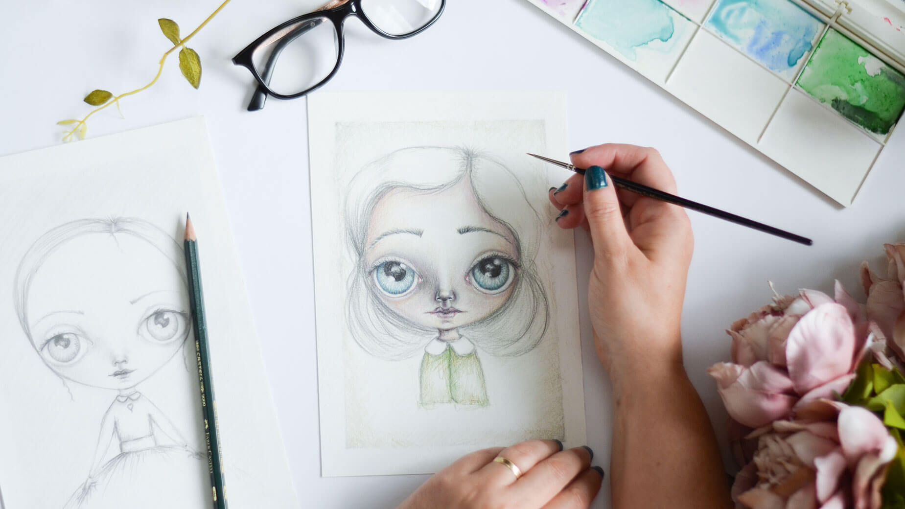 drawing commission flatlay of the drawing board of artist deborah jackson