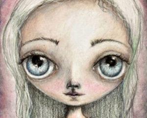 sail away a big eyes colored pencil drawing on paper by artist deborah jackson