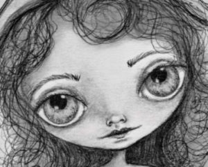 someday a big eyes graphite drawing on paper by artist deborah jackson