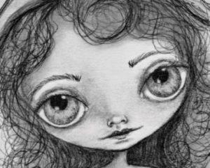 someday a big eyes graphite drawing on paper by artist deborah jackson